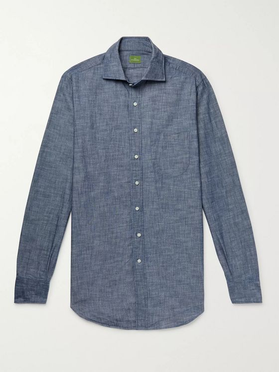 SID MASHBURN Slim-Fit Cotton-Chambray Shirt