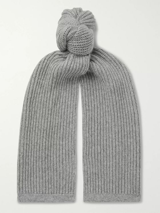 Ermenegildo Zegna Ribbed Cashmere and Silk-Blend Scarf