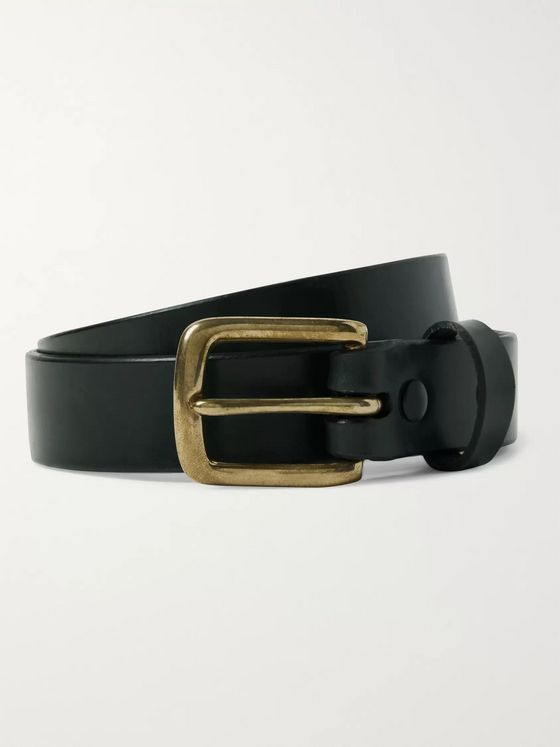Sid Mashburn 2.5cm Bottle-Green Leather Belt