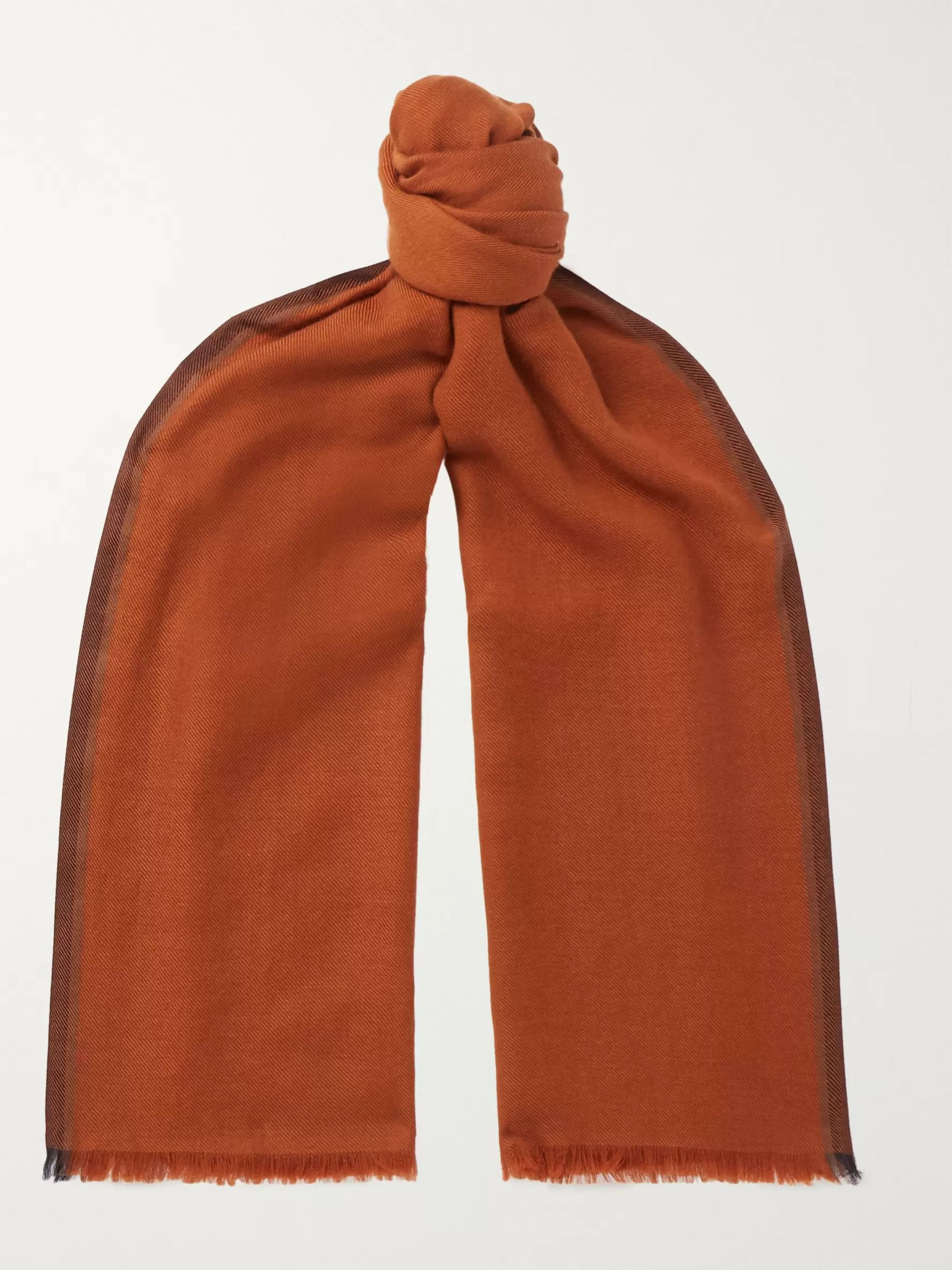 Ermenegildo Zegna Striped Fringed Cashmere and Silk-Blend Twill Scarf