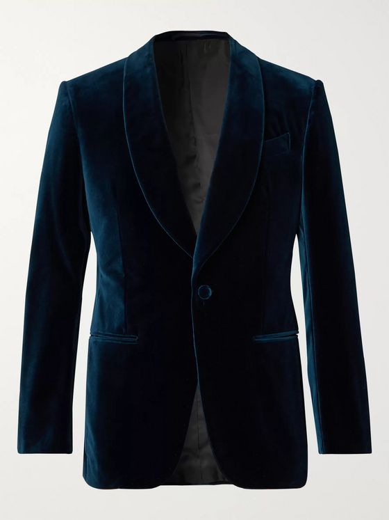 Ermenegildo Zegna Blue Slim-Fit Cotton-Velvet Tuxedo Jacket