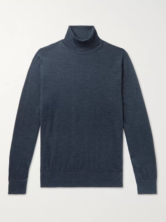 Ermenegildo Zegna Mélange Cashmere and Silk-Blend Rollneck Sweater