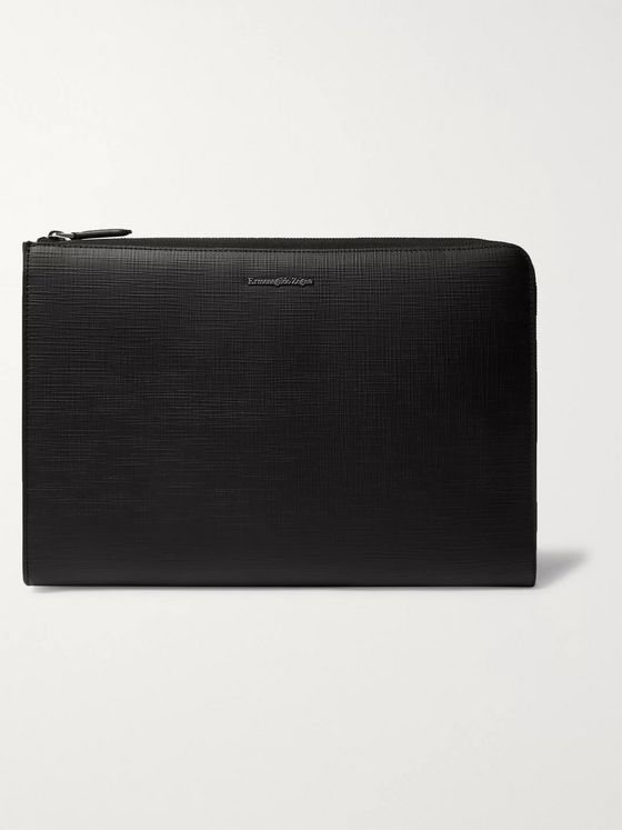 Ermenegildo Zegna Textured-Leather Zip-Around Pouch