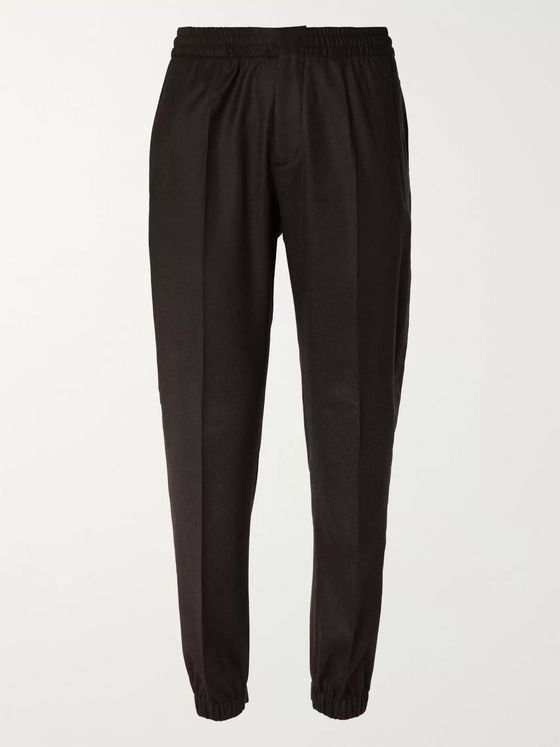 Ermenegildo Zegna Black Slim-Fit Tapered Wool Trousers