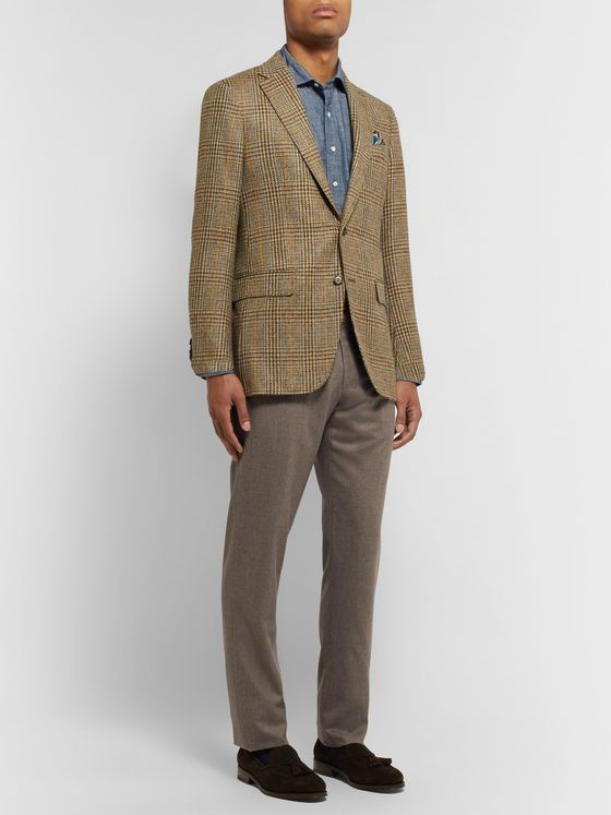 Sid Mashburn Dark-Taupe Slim-Fit Mélange Wool-Flannel Trousers
