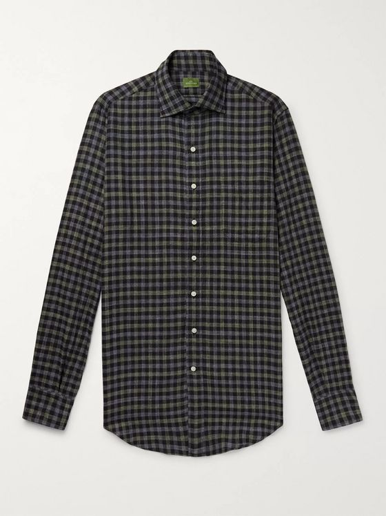 SID MASHBURN Slim-Fit Checked Cotton-Twill Shirt