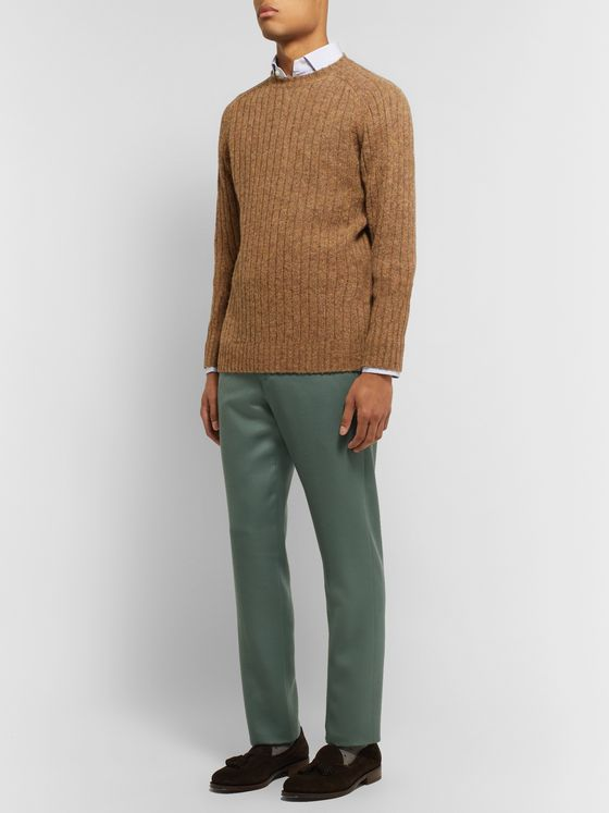 Sid Mashburn Grey-Green Slim-Fit Wool-Twill Trousers