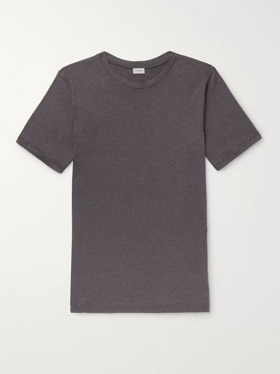 Zimmerli Slim-Fit Mélange Stretch Cotton and Cashmere-Blend T-Shirt
