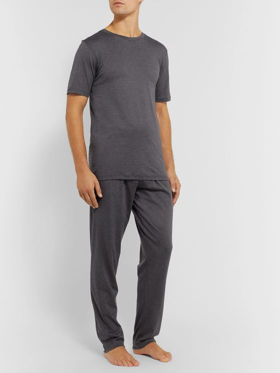 Zimmerli Mélange Stretch Cotton and Cashmere-Blend Sweatpants