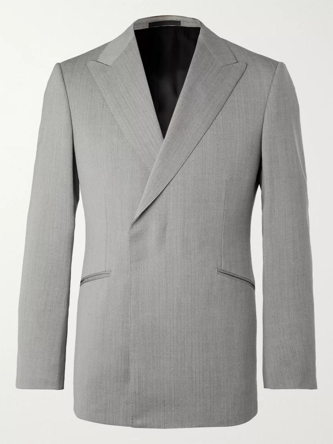 Kingsman Conrad Slim-fit Double-breasted Herringbone Wool Suit Jacket In Gray