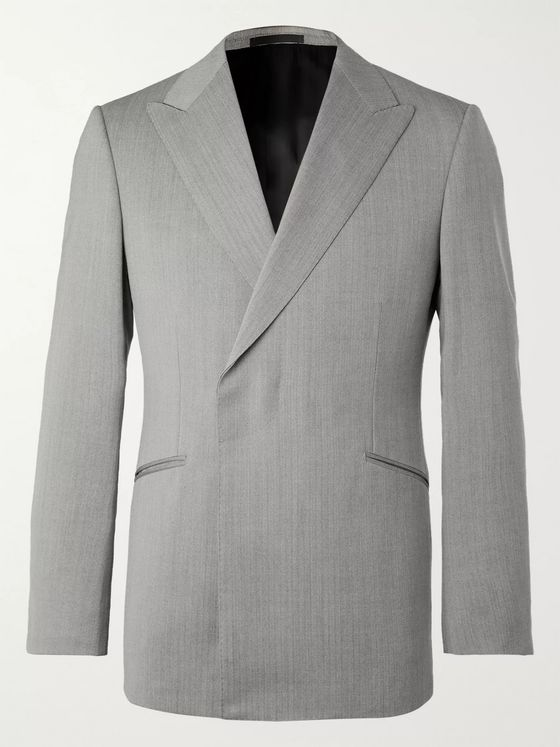 Kingsman Conrad Slim-Fit Double-Breasted Herringbone Wool Suit Jacket