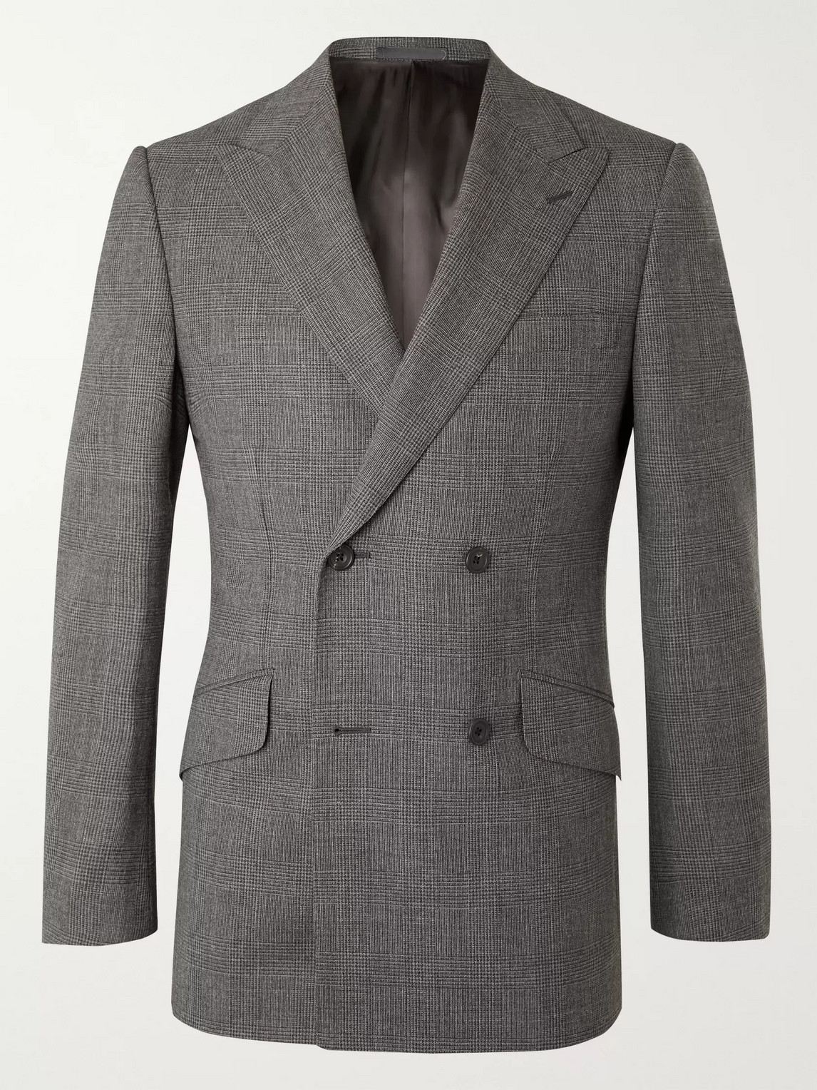 Kingsman Archie Reid Slim-fit Double-breasted Prince Of Wales Checked Wool Suit Jacket In Gray