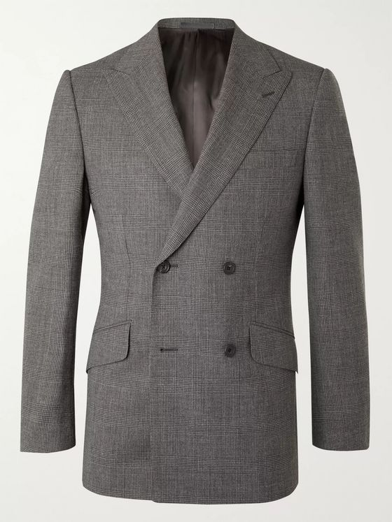 KINGSMAN Archie Reid Slim-Fit Double-Breasted Prince of Wales Checked Wool Suit Jacket