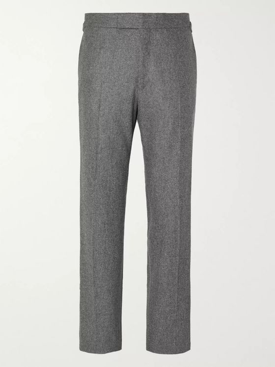 Kingsman Grey Slim-Fit Conrad Wool-Flannel Trousers