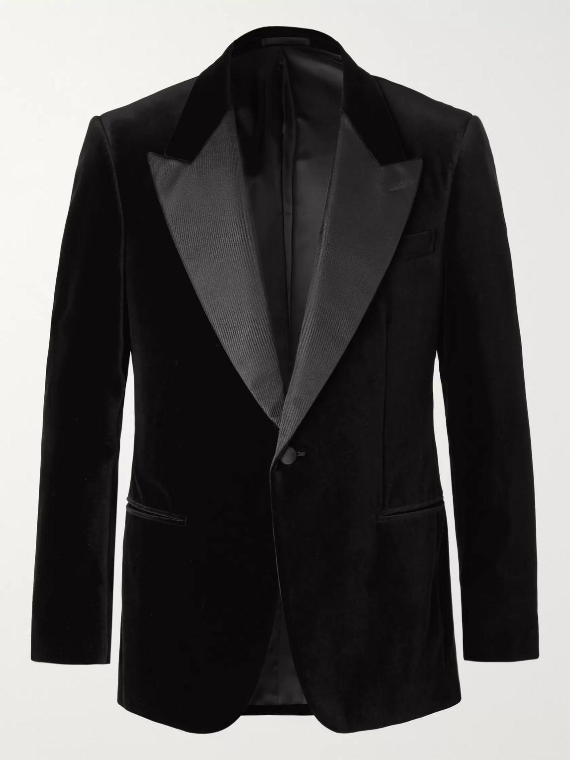 Kingsman Black Grosgrain-trimmed Cotton-velvet Tuxedo Jacket