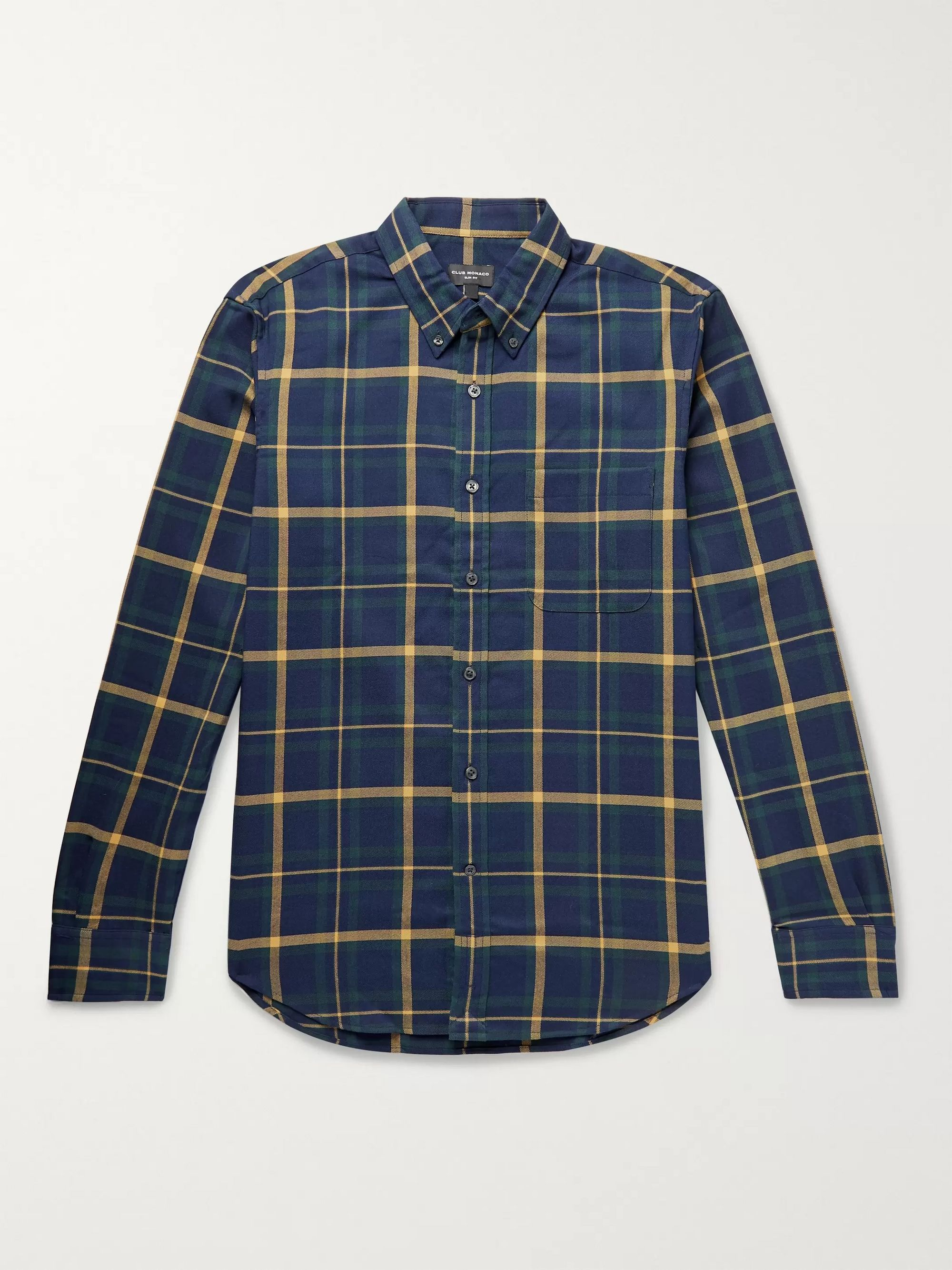 클럽 모나코 Club Monaco Navy Slim-Fit Button-Down Collar Checked Cotton-Twill Shirt,Navy