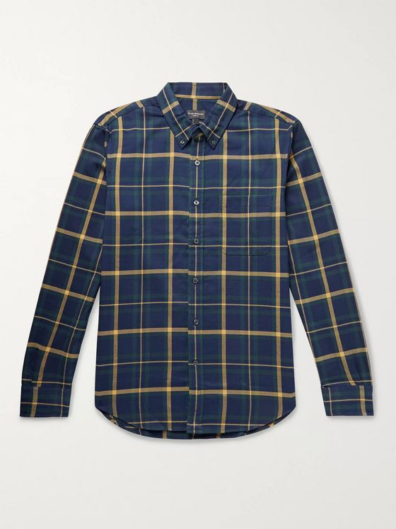Club Monaco Slim-Fit Button-Down Collar Checked Cotton-Twill Shirt