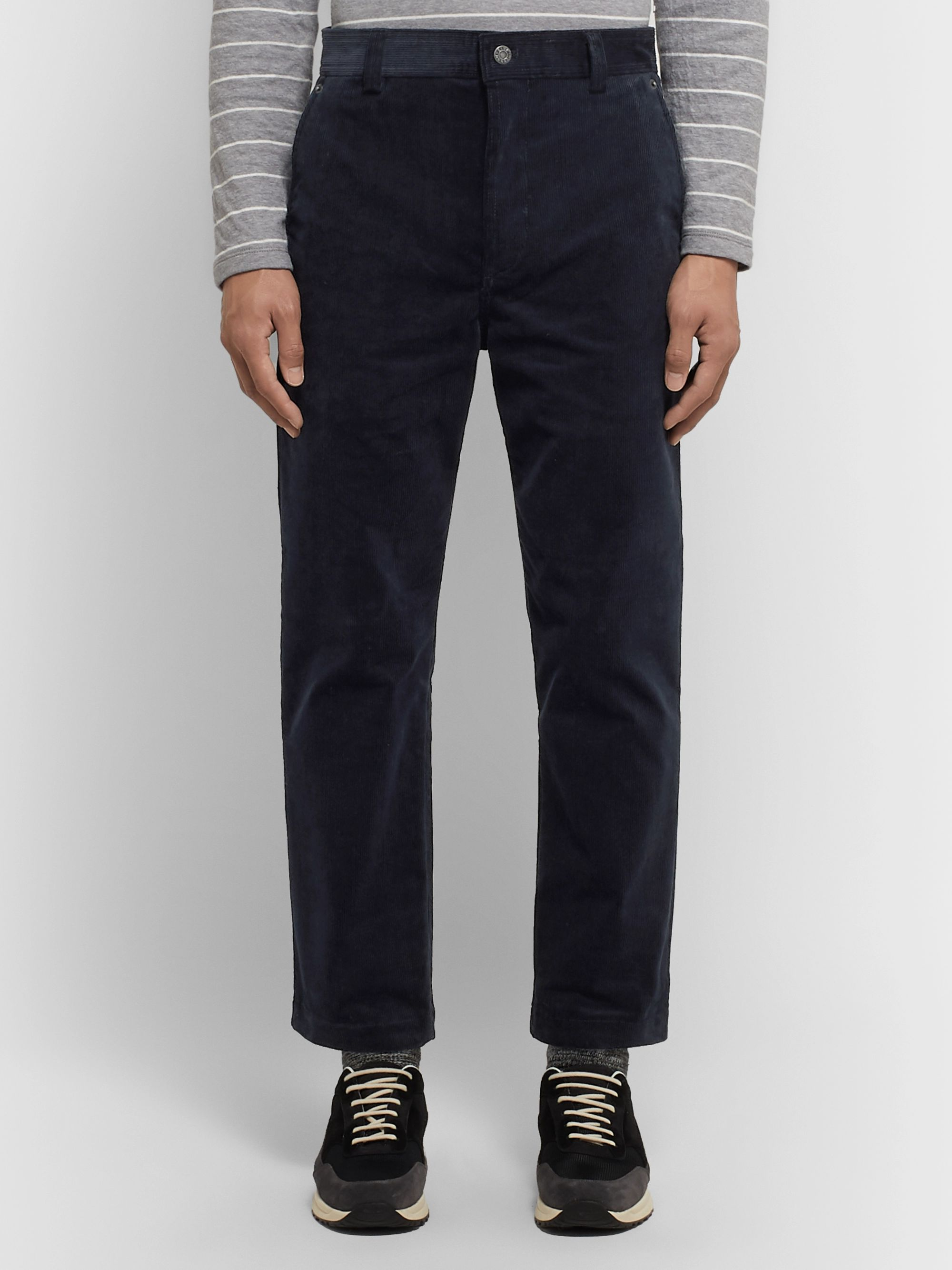 Club Monaco Navy Cotton-Corduroy Trousers