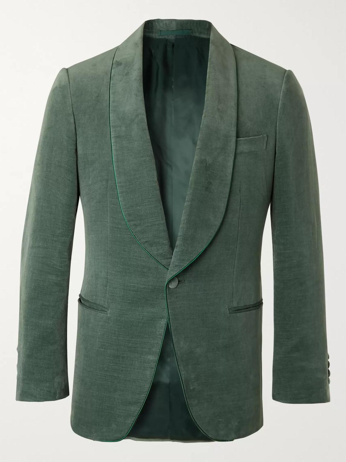 Kingsman Slim-fit Cotton And Linen-blend Velvet Tuxedo Jacket In Green