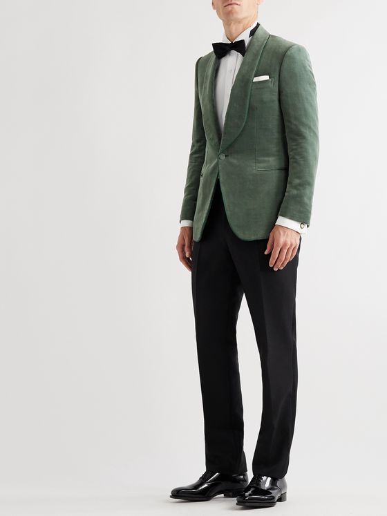 Kingsman Slim-Fit Cotton and Linen-Blend Velvet Tuxedo Jacket