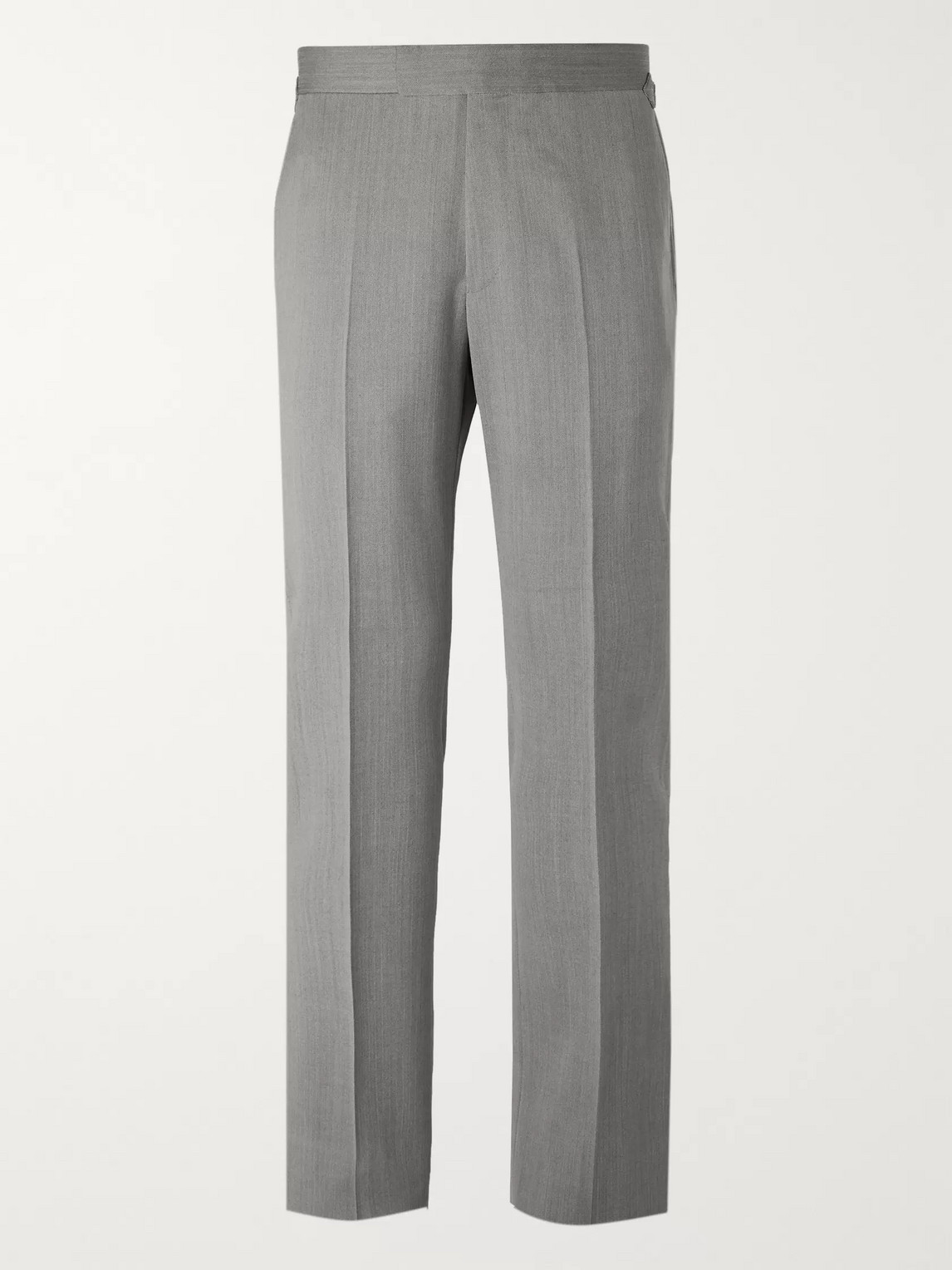 Kingsman Conrad Slim-fit Herringbone Wool Suit Trousers In Gray