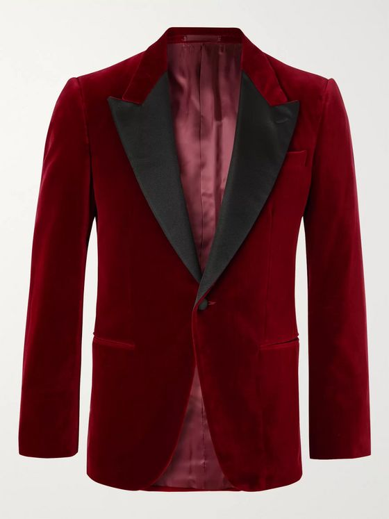 Kingsman Slim-Fit Satin-Trimmed Cotton-Velvet Tuxedo Jacket