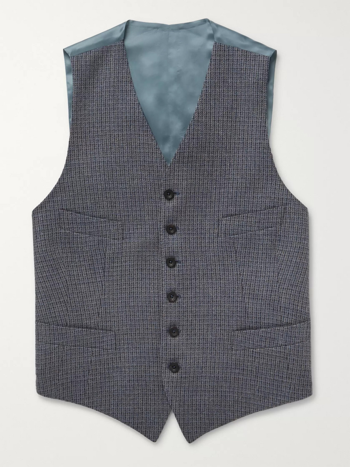 Kingsman Conrad Checked Wool And Satin Waistcoat In Blue