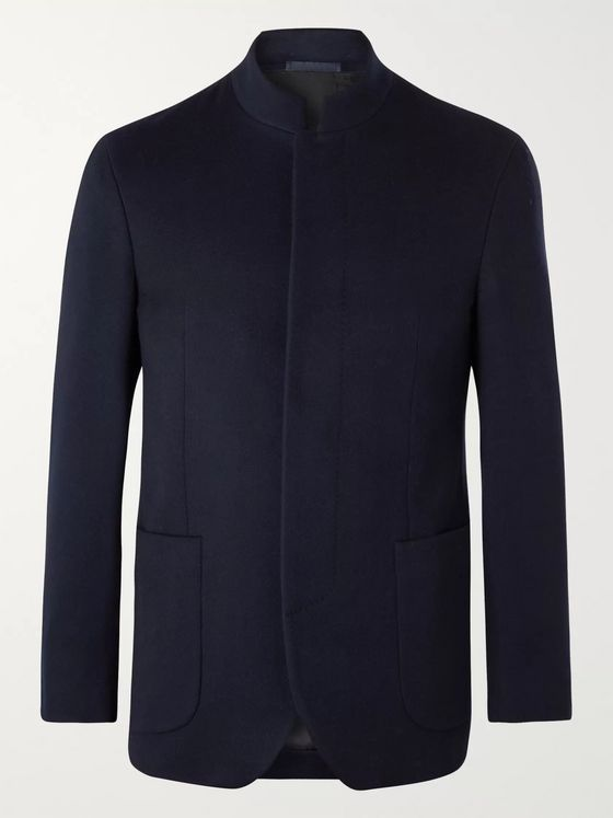 Kingsman Slim-Fit Nehru-Collar Cashmere Blazer