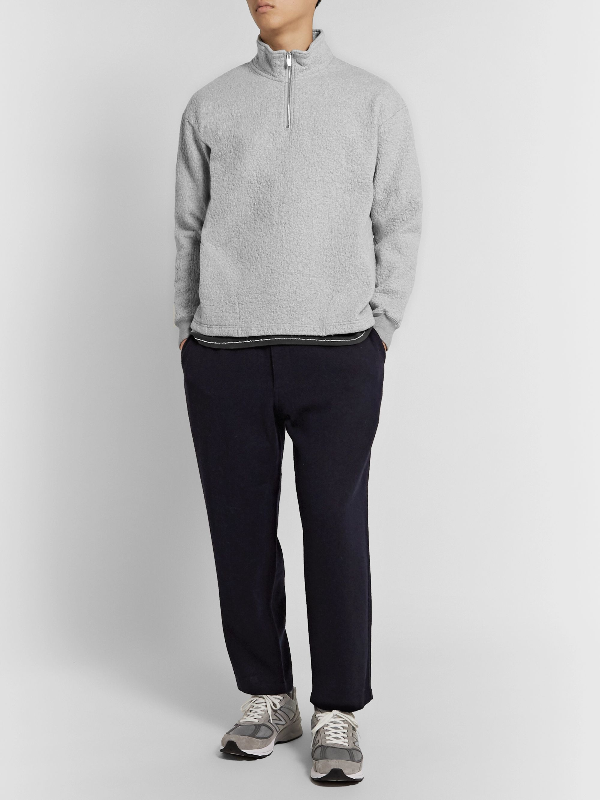 Pilgrim Surf + Supply Leon Double-Faced Crinkled Cotton and Wool-Blend Half-Zip Sweatshirt
