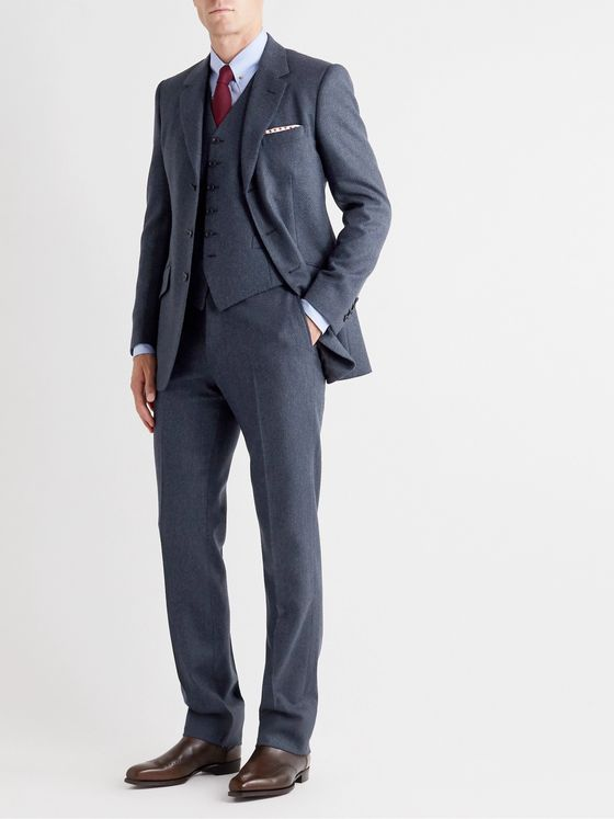 Kingsman Conrad Slim-Fit Mélange Wool and Satin Waistcoat