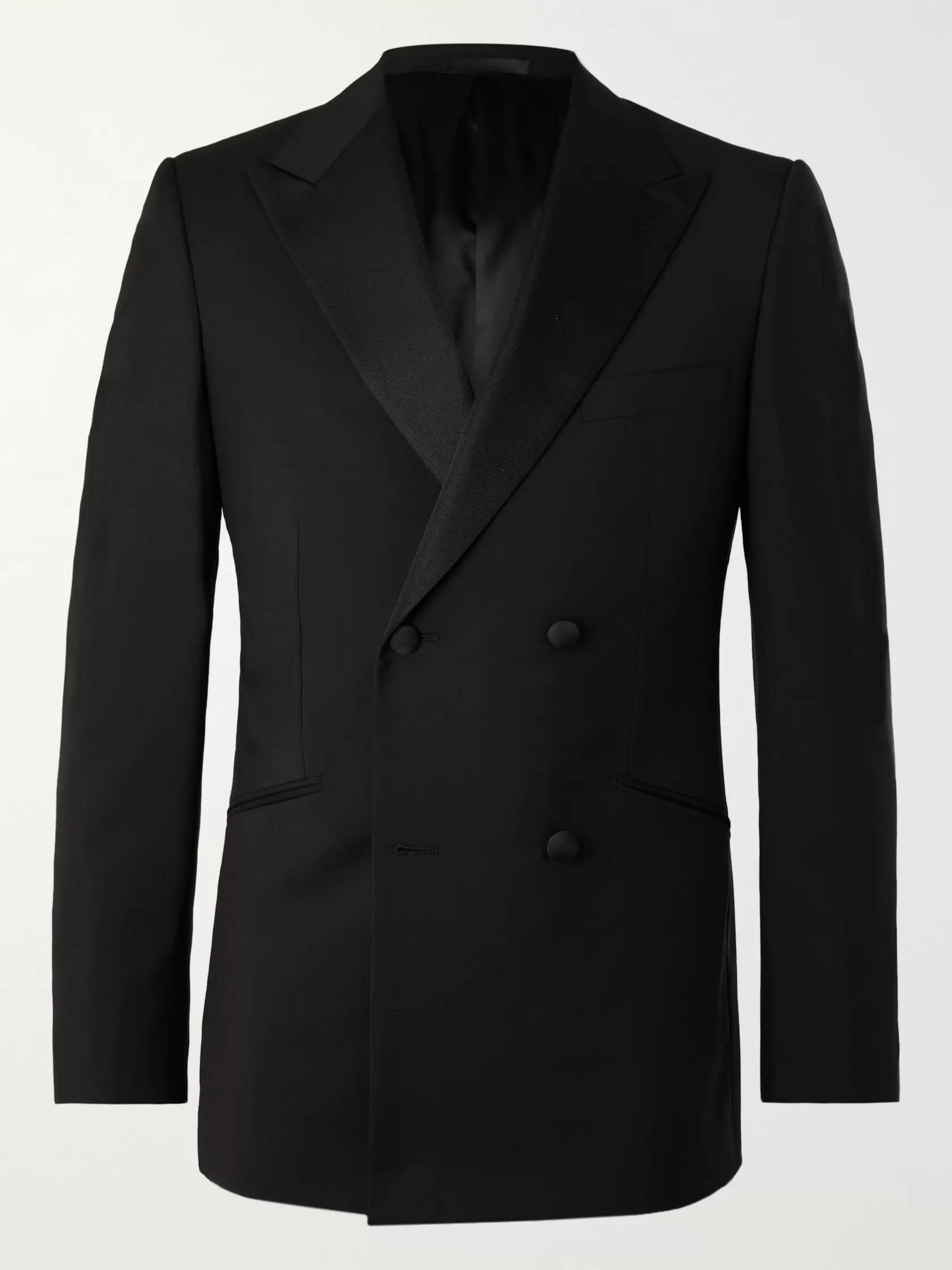 Kingsman Slim-Fit Double-Breasted Grosgrain-Trimmed Wool and Mohair-Blend Tuxedo Jacket