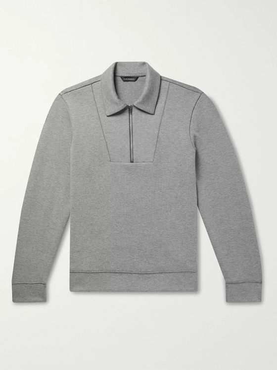 Club Monaco Mélange Cotton-Blend Half-Zip Sweatshirt