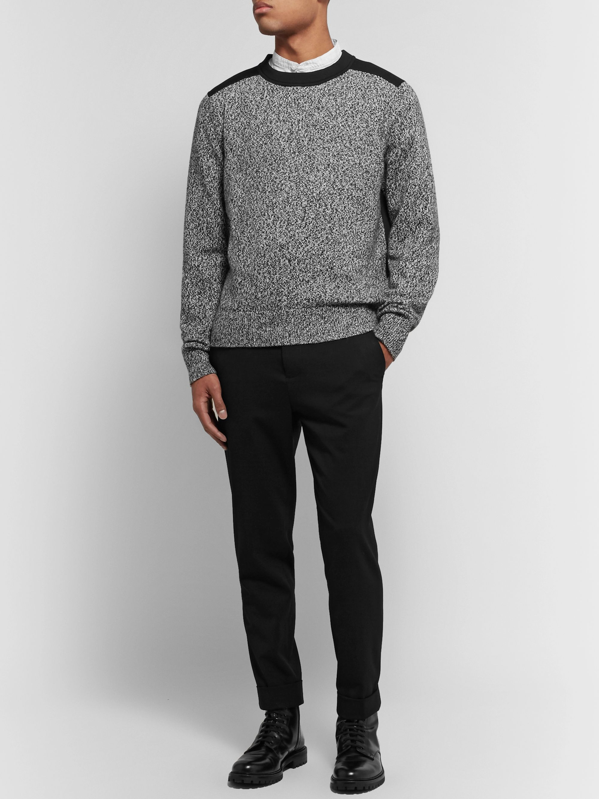 Club Monaco Jersey-Panelled Mélange Cotton and Wool-Blend Sweater