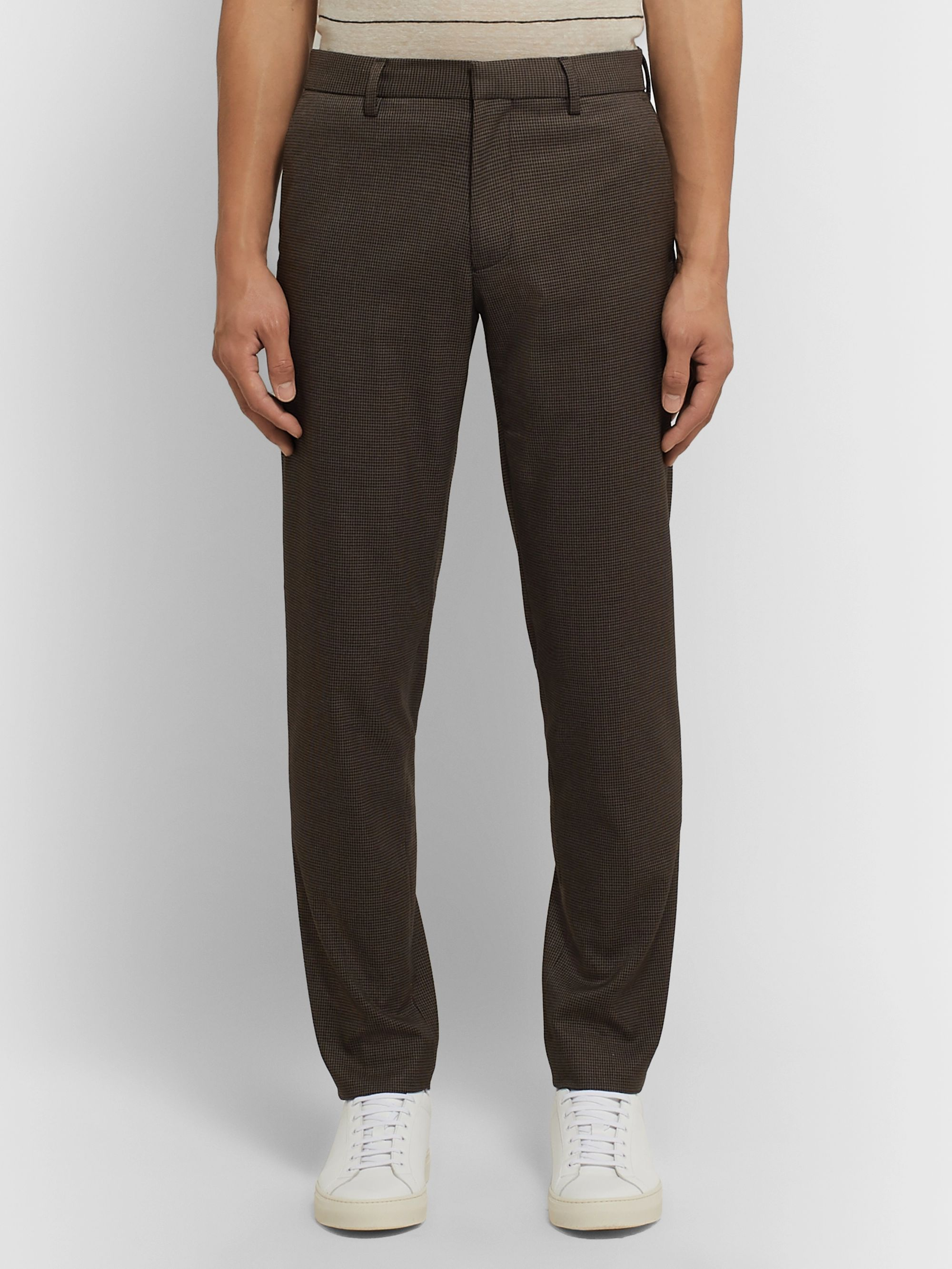 Club Monaco Brown Sutton Slim-Fit Puppytooth Woven Trousers