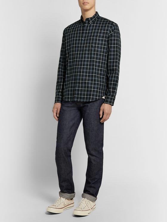 Club Monaco Slim-Fit Button-Down Collar Checked Cotton Shirt