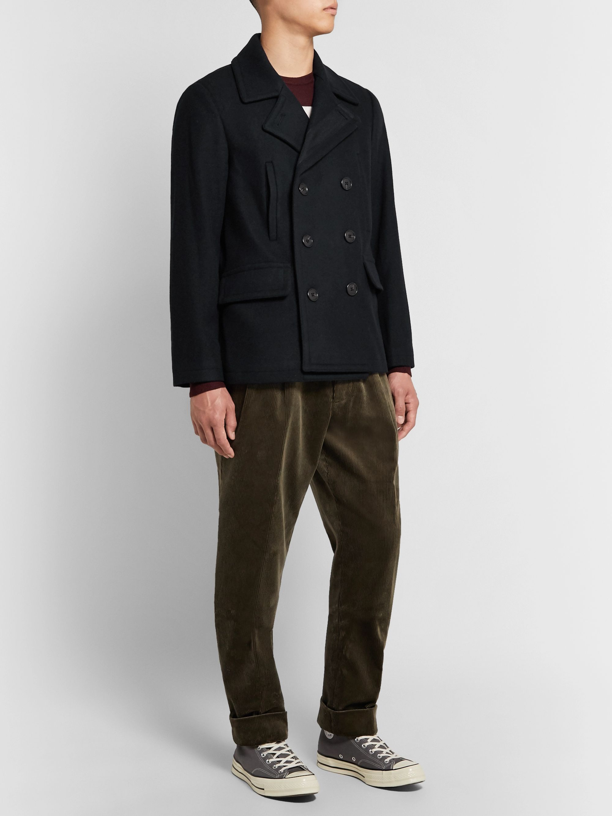 Club Monaco Double-Breasted Wool-Blend Peacoat