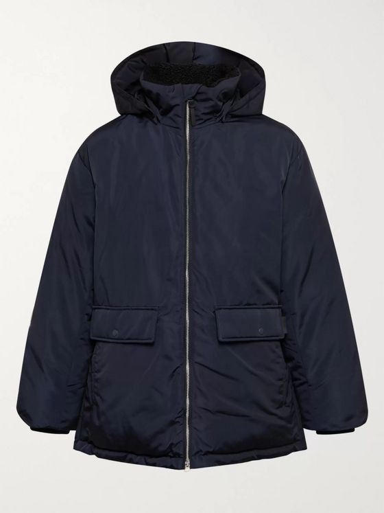 Club Monaco Fleece-Trimmed Shell Hooded Down Coat