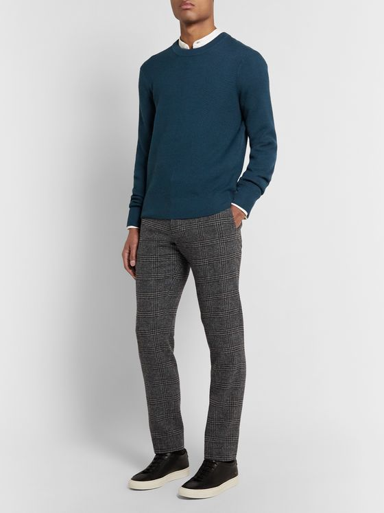 Club Monaco Grey Sutton Slim-Fit Prince of Wales Checked Wool-Blend Trousers