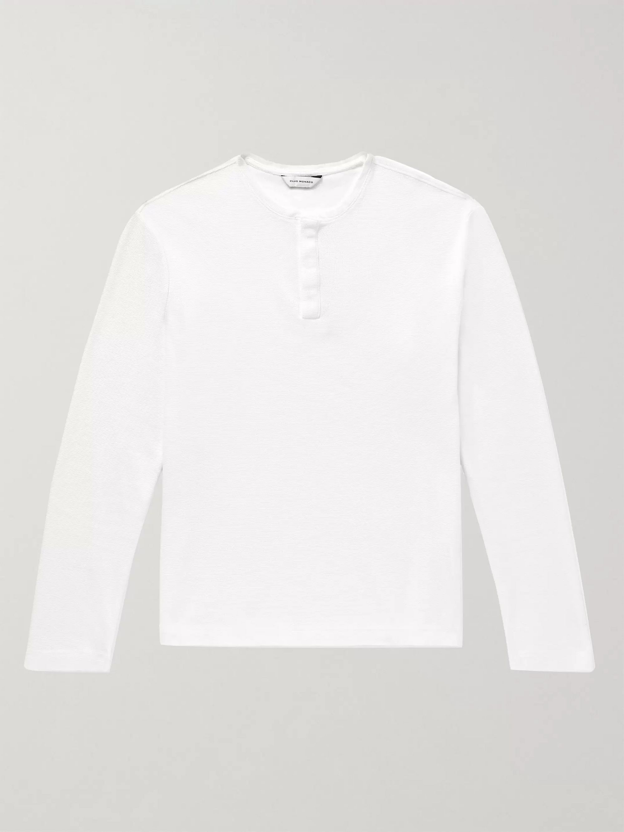 Club Monaco Waffle-Knit Cotton-Jersey Henley T-Shirt