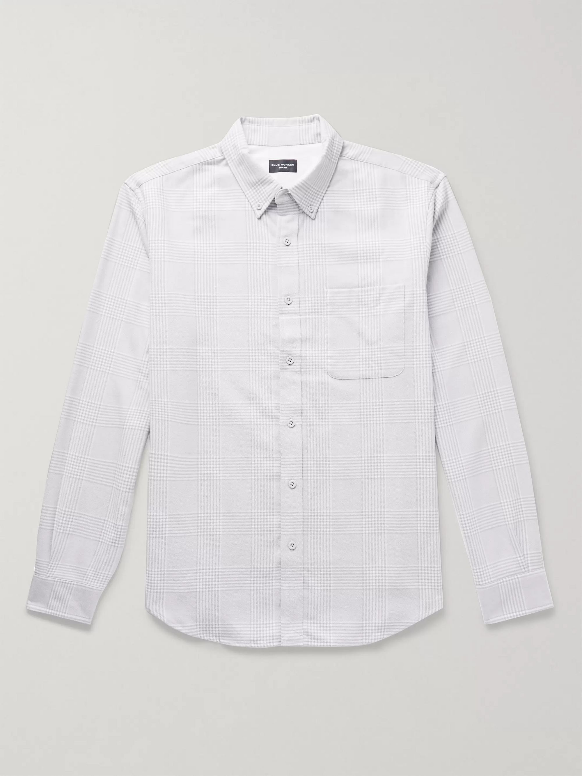 slim-fit-button-down-collar-prince-of-wales-checked-cotton-shirt by club-monaco