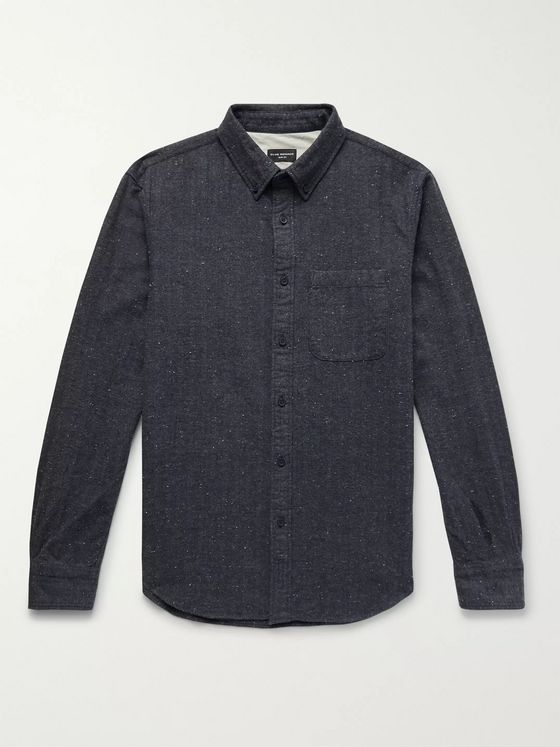 Club Monaco Slim-Fit Button-Down Collar Herringbone Slub Cotton-Blend Shirt