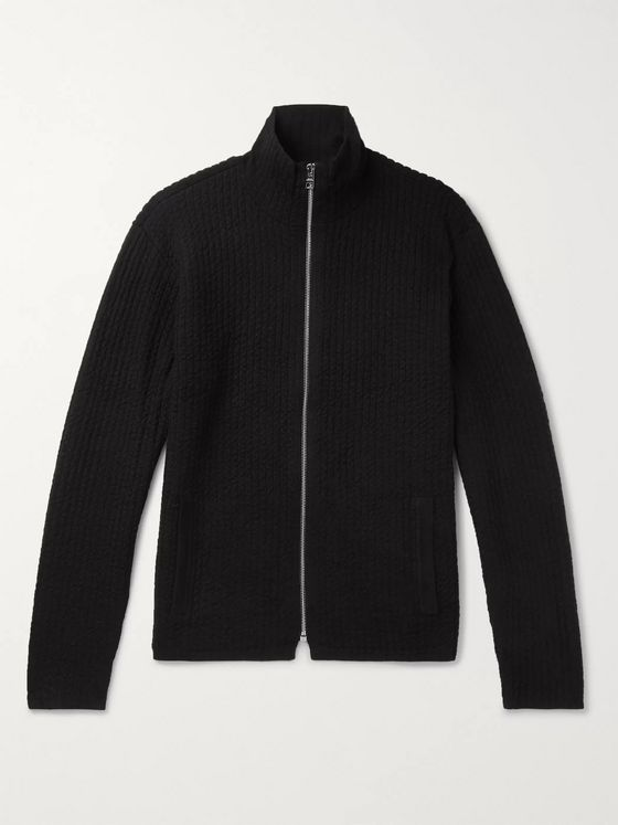 Club Monaco Slim-Fit Mercerised Ribbed-Knit Zip-Up Cardigan