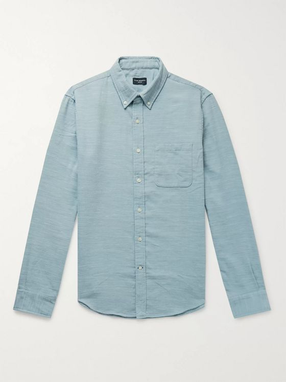 Club Monaco Slim-Fit Button-Down Collar Slub Woven Shirt