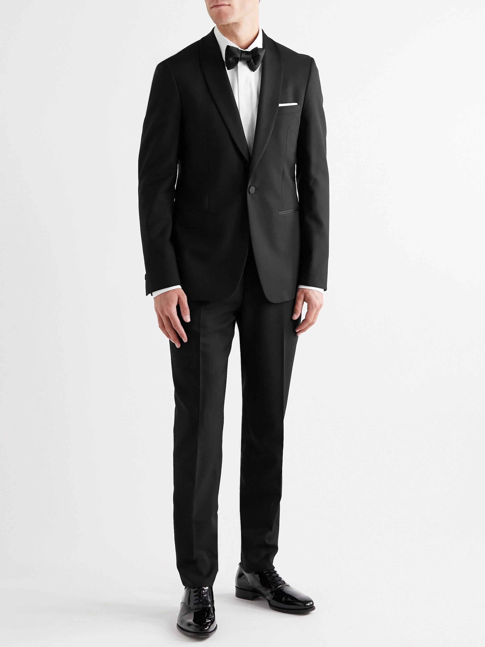 Mr P. Black Slim-Fit Shawl-Collar Faille-Trimmed Virgin Wool Tuxedo Jacket