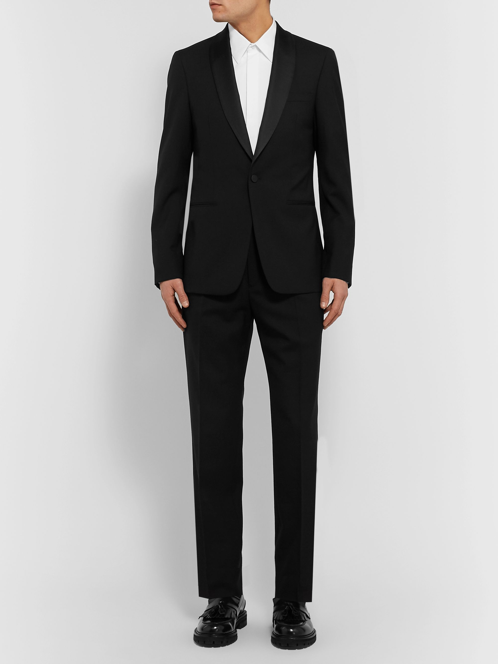 Mr P. Black Slim-Fit Grosgrain-Trimmed Wool Drawstring Tuxedo Trousers
