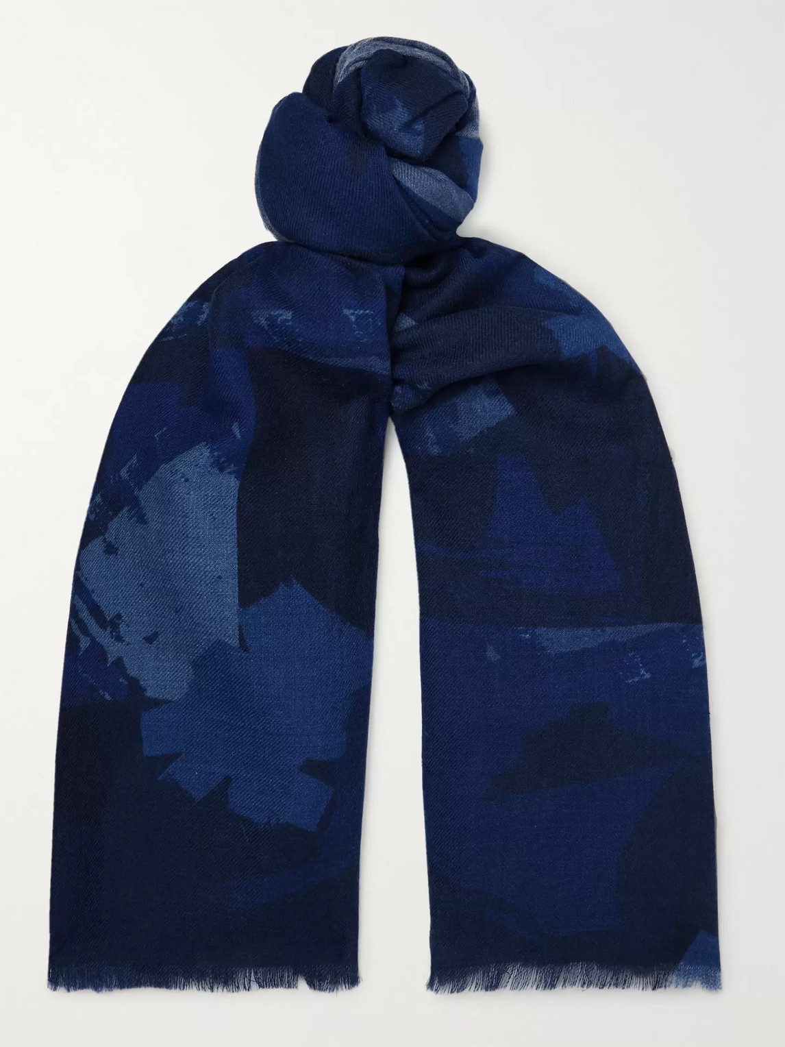 The Workers Club Printed Wool-flannel Scarf In Blue