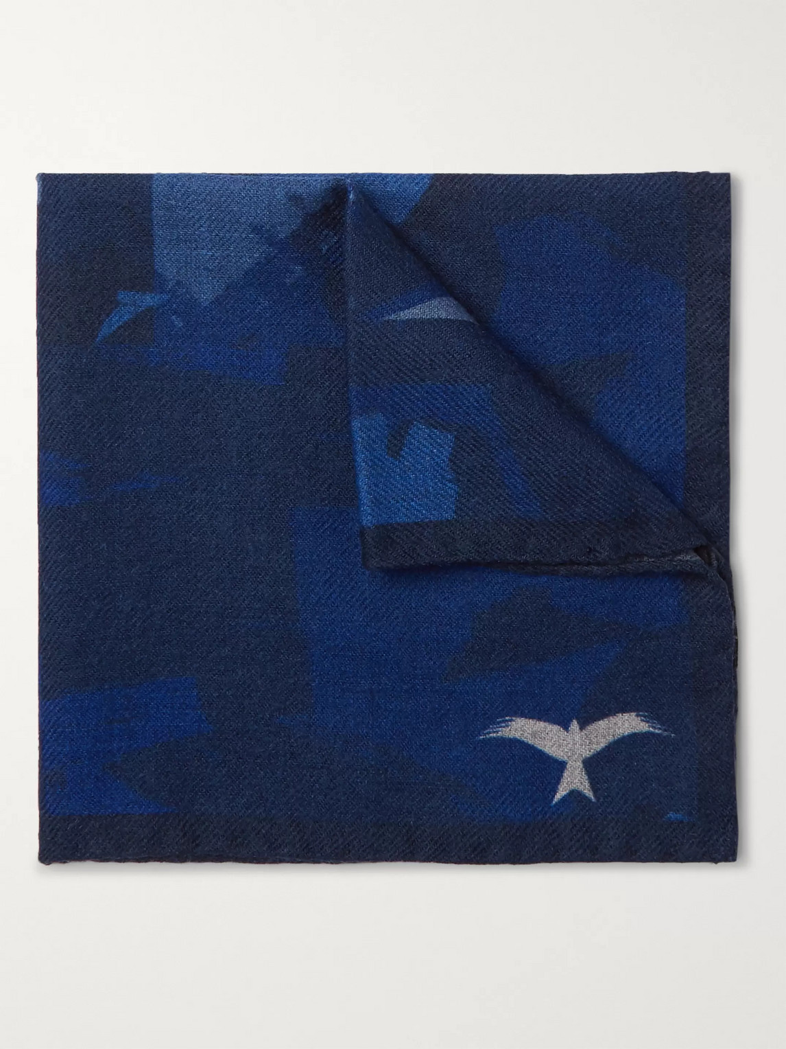 The Workers Club Printed Wool-twill Pocket Square In Blue