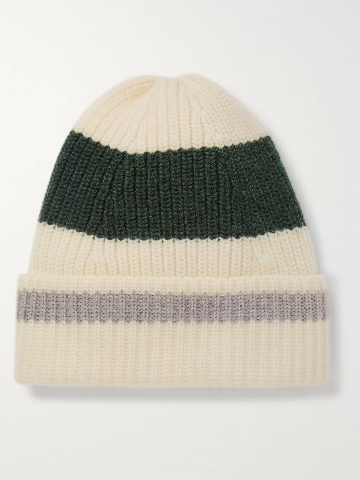 The Workers Club Striped Ribbed Merino Wool Beanie In Neutrals