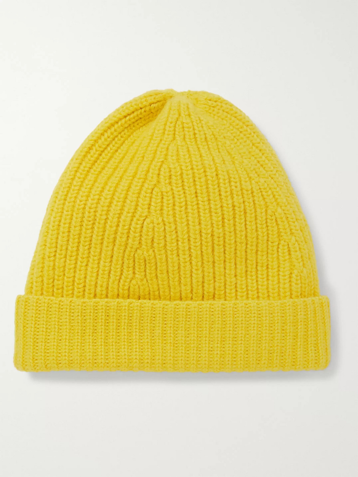 The Workers Club Ribbed Merino Wool Beanie In Yellow
