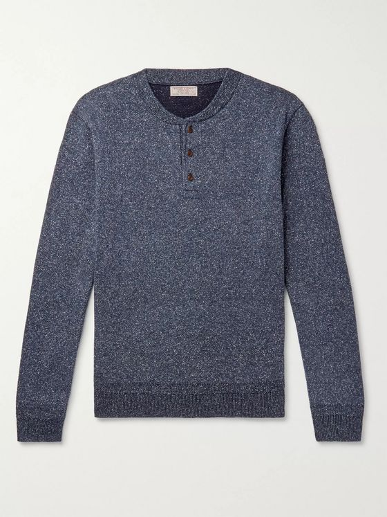 J.Crew Wallace & Barnes Mélange Silk and Cotton-Blend Henley Sweater